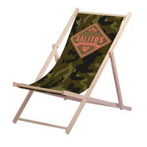Salitos Liegestuhl Tarnmuster aus Buchenholz dreifach verstellbar Beach Party Festival Sommer Relaxliege Garten Sonnenliege Strandliege