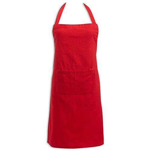 DII Delantal de Chef Ajustable 100% Aglodón con Bolsillo, apto para lavar en lavadora, Rojo