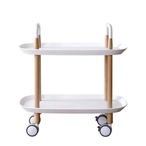 Petite Table à café Mobile Double Couche Trolley Multi-Fonction Salle à Manger Support de Stockage de Voiture Salon Canapé Table d'appoint (Couleur : Blanc)