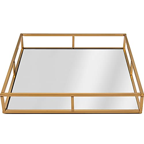 Gold Square Mirrored Candle Perfume Drinks Vanity Serving Tray (AR200 Gold)
