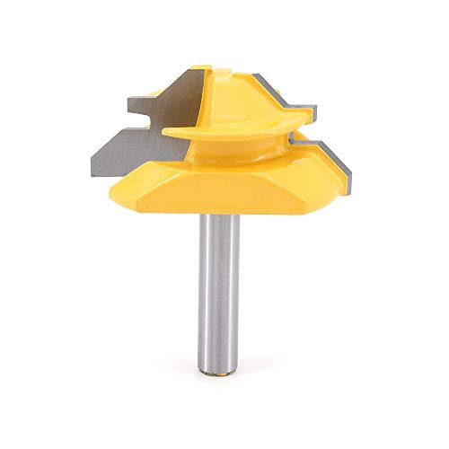 DingGreat 8mm Schaft Verleimfräser Gehrung Verleimfräser Oberfräse, 45 Grad Verriegelung Gehrungsfräser, Holzbearbeitung Fräser Schneidwerkzeug für Graviermaschine Trimmmaschine