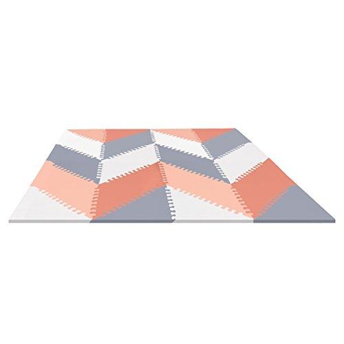 Skip Hop Foam Baby Play Mat: Playspot Interlocking Foam Floor Tiles, 70' x 56', Grey/Peach