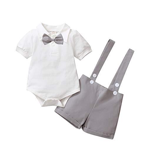 Baby Jungen Gentleman Anzüge, Kinder Kurzarm Bowtie Shirt Strampler + Hosenträger Shorts Overalls Festliche Taufe Hochzeit Gentleman Shorts Set 0-24M