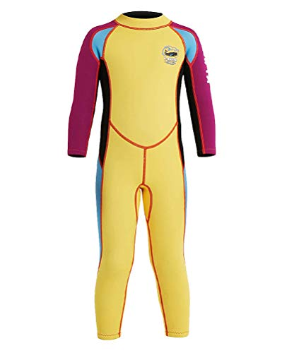 Daoba Kinder Neopreneanzug Badeanzug Mädchen Schwimmanzug Einteiler Unisex 2.5MM Tauchanzug UV-Schutz Langarm Wetsuit für Wassersport