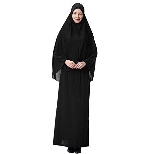 Mengonee Kleid Frauen Burqa Anzug Robe Lady Wüste Thobe Hijab Mädchen Langarm-Kopf-Abdeckung Kleid