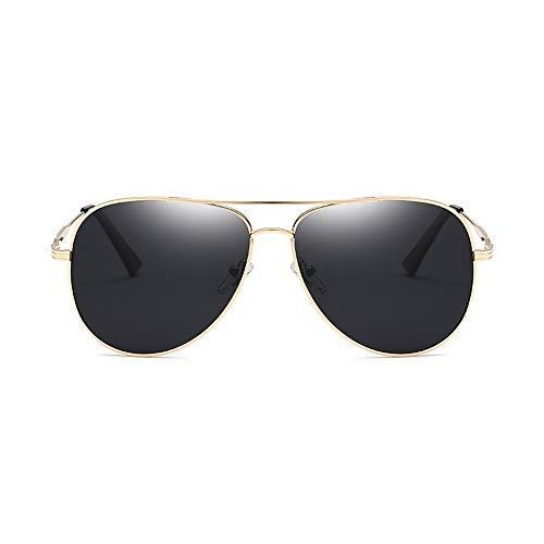 Yeeseu Gafas de sol clásicas de moda gafas de sol polarizadas for el marco de los hombres Tfrog Espejo redondo del metal for la conducción de pesca al aire libre gafas de moda (Color: Verde, Tamaño: L