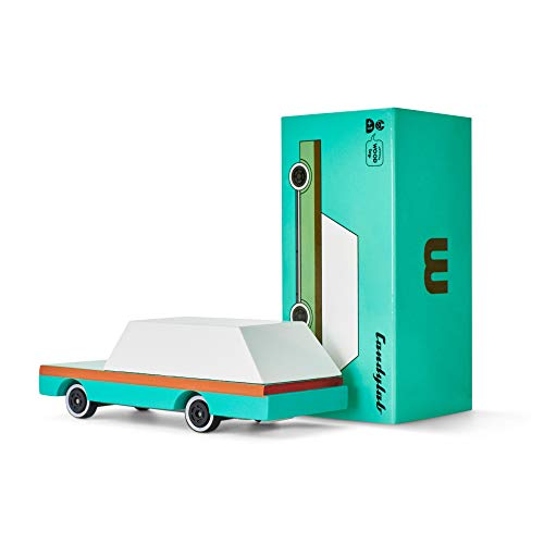 Candylab Toys Wooden Cars, CandyCar Teal Wagon, Kids Toy Car Model, Solid Beech Wood