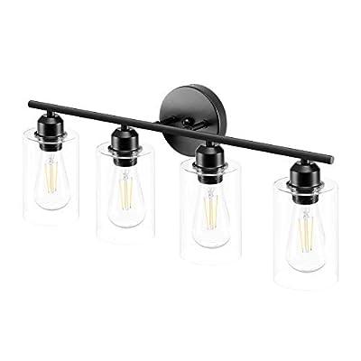 Espird 4 Light Bathroom Vanity Light Fixtures Black,Rustic Farmhouse Bath Vanity Light Over Mirror Sink Modern Industrial Wall Lamp Hallway lamp with Clear Cylinder Glass Shade