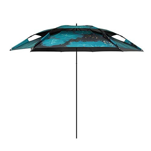 AWJ Sombrilla, sombrilla de Playa, sombrilla de Pesca, UV50 +, protección Solar, Impermeable, Revestimiento de Vinilo, Fibra de Vidrio portátil, Muesca en Forma de U (sin Bas