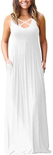 LILBETTER Women s Sleeveless Racerback Loose Plain Maxi Maternity Dresses Casual Long Dresses product image