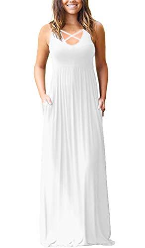 Lilbetter Damen-Kleid, ärmellos, Racerback, lockerer Passform, einfarbig, Maxikleid, lässig, mit Taschen - - X-Klein