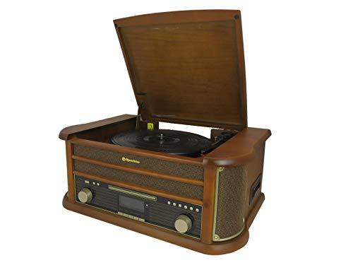 Roadstar HIF-1993D+BT Retro-Musikanlage mit DAB-Radio und Plattenspieler (DAB+, CD / MP3-Player, Kassette, Bluetooth, USB, AUX-In, Encoding-Funktion, 80 Watt Musikleistung, Holzgehäuse), braun
