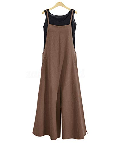YESNO Women Casual Loose Boyfriend Bib Pants Summer Wide Leg Cotton Jumpsuits Rompers with Pockets XS-5X (M PZZTYP2 Coffee)