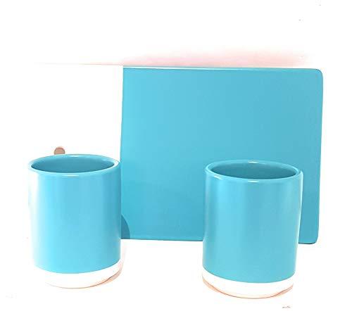 Orval Créations Coffret Pause gourmande - 1 Plateau 25x14,5 cm + 2 Verres 8 cm en céramique - Couleur Bleu Turquoise