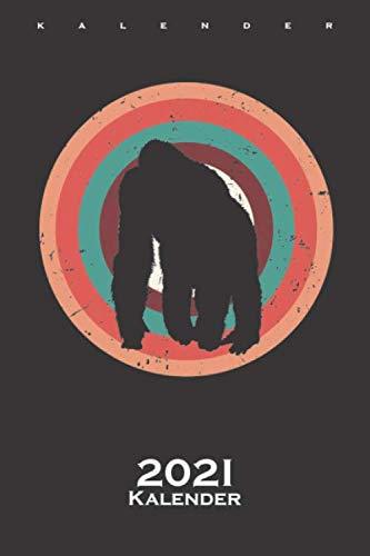 Gorilla Kalender 2021: Jahreskalender für Tierfreunde und Fans von Affen