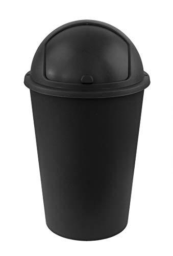 XXL Mülleimer 50L groß - schwarz - mit Schiebedeckel - Stabiler Kunststoff - Abfalleimer Müllsammler - für Küche, Büro, Bad