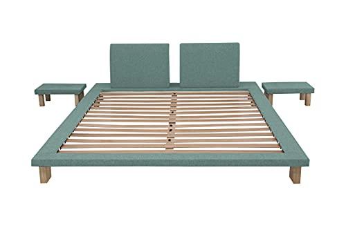 EVERGREENWEB Lit Tatami en bois naturel de 20 cm de haut avec tables de chevet incluses. Lit japonais à lattes recouvert de tissu adapté à tous les matelas – Tami (turquoise, 160 x 200)
