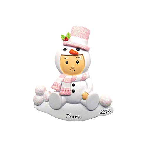 Personalized Snowman Baby Christmas Ornament for Tree 2018 - Cute Girl in Snow Costume Carrot Nose Glitter - Shower Tradition Nursery Grand-daughter Kid First - Free Customization by Elves (Pink)
