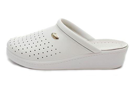 Dr Punto Rosso Medical Comfort 100SB Damen Pantoletten Slipper Schuhe aus Leder, Weiá (weiß), 41 EU