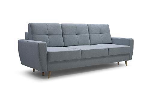 Sofa 3 Sitzer Sofa Couch Garnitur Stoff Samt (Velour) Glamour Wohnlandschaft mit Schlaffunktion - ELDE (Menthe)
