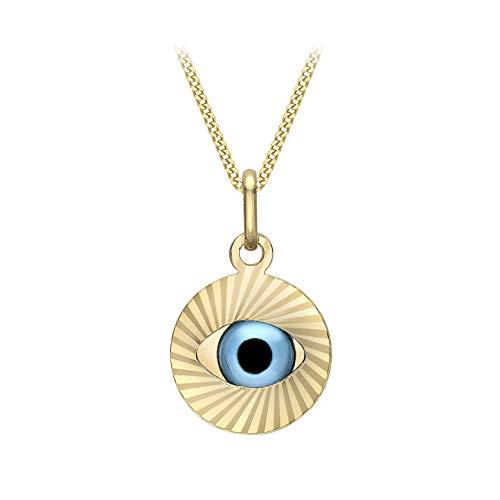 Carissima Gold Collar con Colgante Amuleto Contra el Mal de Ojo para Mujer - Cadena Grumet en Oro Amarillo 9K (375) y Dije con Corte Diamante - 46 cm