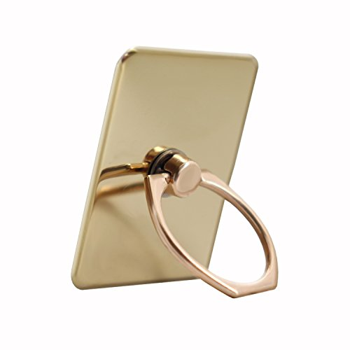 Gold Colour Ring Stand for Lenovo Moto Z Play in Chrome-Plated Aluminium 360 Degree Rotation with Stylish Design with 3M Adhesive