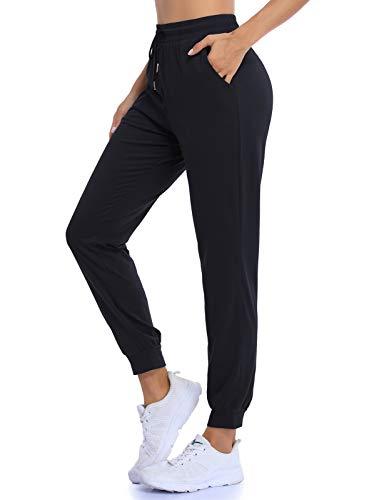 QEESMEI Women's Juniors Soft Black Jogger Pants Sweatpants Elastic Waist Drawstring Pocket Lounge Pants, Black Large