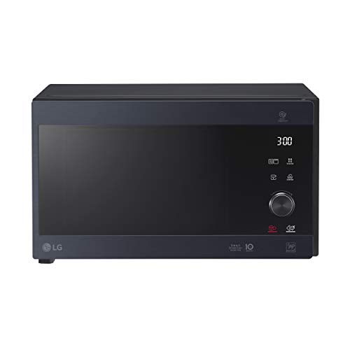 LG MH6565CPW Grill Smart Inverter Mikrowelle 1000 W, Grill 900 W, Micro+Grill 1450 W, 25 Liter Fassungsvermögen, LED-Display, Crispy-Teller, Innenteller 292 mm, matt schwarz