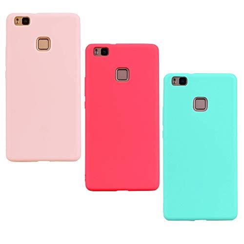 ChoosEU Compatible con 3X Funda Huawei P8 Lite 2015/2016 Silicona Design Mate Bonita Carcasas TPU Case Antigolpes Bumper Cover Protección Caso Flexible Gel - Rosa Rojo Verde