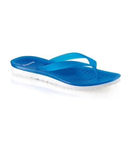 Fashy Damen V-Strap Pantolette, weiße Sohle, blau, Größe 38