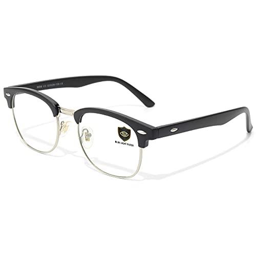 Livhò Blue Light Blocking Glasses, Computer Gaming Glasses, Anti Eye Strain Filter Ray Lens, Sleep Better for Women Men (Matte Black)