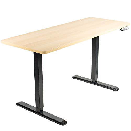VIVO Electric 60 x 24 inch Stand Up Desk | Light Wood Table Top, Black Frame, Height Adjustable Standing Workstation with Memory Preset Controller (DESK-KIT-1B6C)