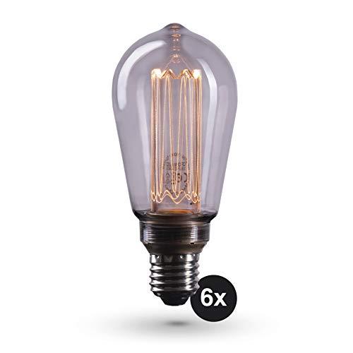 CROWN LED 6x Smoky Edison Illusion Filament Glühbirne E27 Fassung in Rauchglas Optik, Dimmbar, 3,5W, 1800K, Warmweiß, 230V, SY24, Antike Filament Beleuchtung im Retro Vintage Look