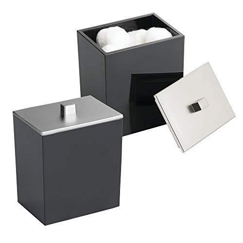 mDesign 2er-Set Wattepadspender und Wattestäbchenbehälter – Bad Accessoire aus Kunststoff für Kosmetik- und Pflegeprodukte – Aufbewahrungsglas mit Deckel aus gebürstetem Nickel – schwarz/silberfarben