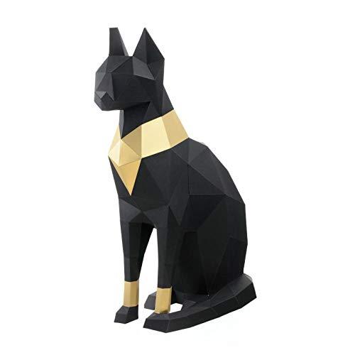 Tier 3D Papier Modell DIY Katze Handgemachte Papierskulptur Vor Cut Papercraft Kit Ornamente Und Spielzeug-Geometrische Origami 3D Zusammensetzung Kinder Erwachsene Geburtstag Überraschung