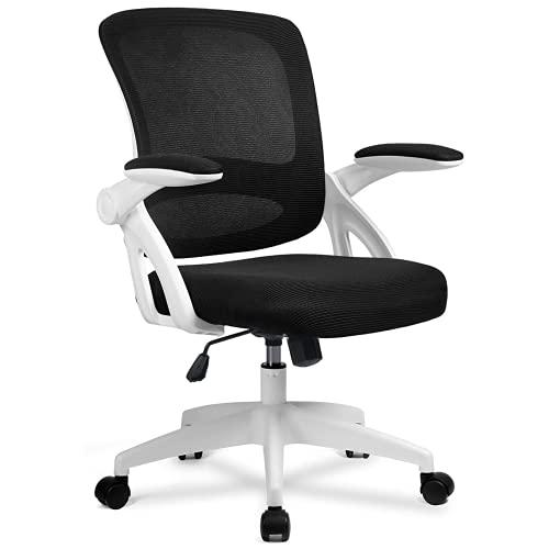 COMHOMA Bürostuhl mit hochklappbaren Armlehnen, Ergonomischer Schreibtischstuhl, Drehstuhl Chefsessel Netz Stuhl Weiß