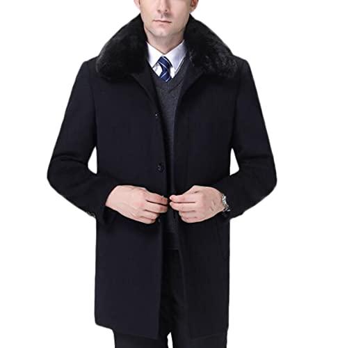 Męski czarny płaszcz kaszmirowy ciepły zimowy długie płaszcz, pikowany żakiet grochowy 90% biały kaczka wełna wełniana płaszcz z odpinanym faux futro kołnierz (Color : Dark blue, Size : L)