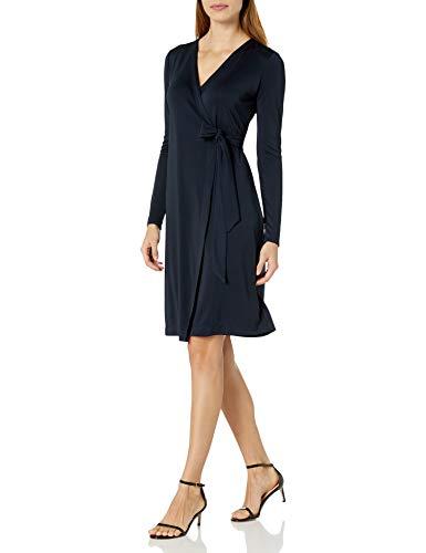 Amazon Brand - Lark & Ro Women's Signature Compact Matte Jersey Long Sleeve Wrap Dress, Navy, X-Small