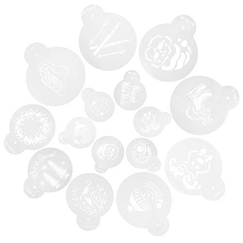 Artibetter 15Pcs Plantillas de Plantilla de Pastel de Navidad Plantilla de Galleta de Navidad Fondant Cupcake Cake Hornear Pintura Molde Herramientas para Navidad Vacaciones Postre Café