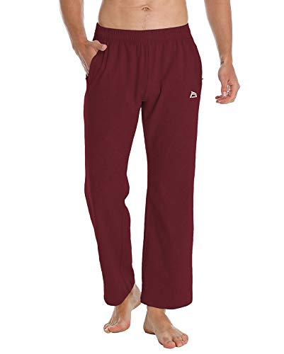 FEDTOSING Men's Cotton Yoga Sweatpants Open Bottom Workout Jogger Pants Loose Fit Athletic Lounge Pants with Zipper Pocket (Wine Red XL)