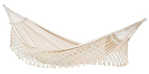 AMAZONAS Edle Premium Jacquard Hängematte in Übergröße Rio 250x160 cm bis 200 kg in Weiß