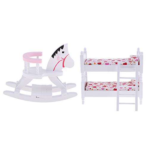 Hellery 1/12 Scale White Wooden Kids Bunk Bed Rocking Horse Set for Dollhouse