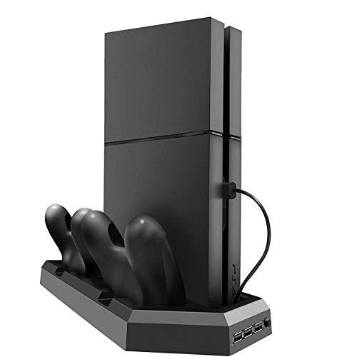 DSHI Soporte Vertical 3 en 1 para PS4 / PS4 Pro / PS4 Slim, Ventiladores de refrigeración silenciosos de Alta Velocidad, la Consola se Ajusta Perfectamente, con Dos Puertos de Carga del Controlador
