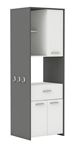 demeyere Almond Küchenschrank, Spanplatte, Weiss/gaphite grau, 60 x 180 x 50 cm