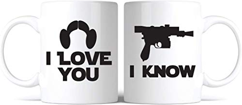 O5KFD&8 Inspired I Love You, I Know Coffee Mug - Juego de 2 tazas de café con texto en inglés 'I Love You, I Know Coffee Coffee Mug Mug - Gran regalo para los amantes de los amantes