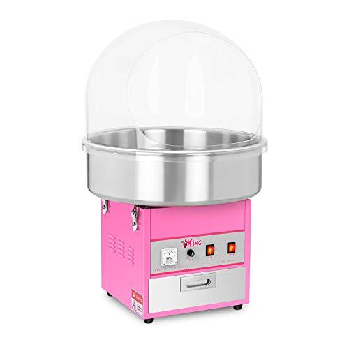 Royal Catering RCZK-1200E Zuckerwattemaschine Cotton Candy Machine mit Abdeckhaube Spuckschutz (Ø 52 cm, 1.200 W, 1 Einheit / 60 s, inkl. Zubehör) Pink