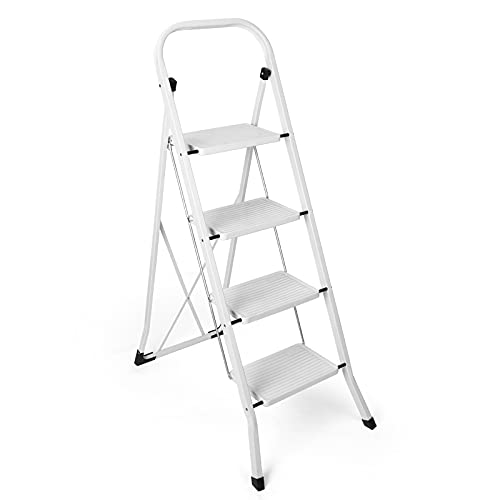 Delxo Folding 4 Step Ladder with Convenient Handgrip Anti-Slip Sturdy and Wide Pedal 330lbs Portable Steel Step Stool White 4-Feet