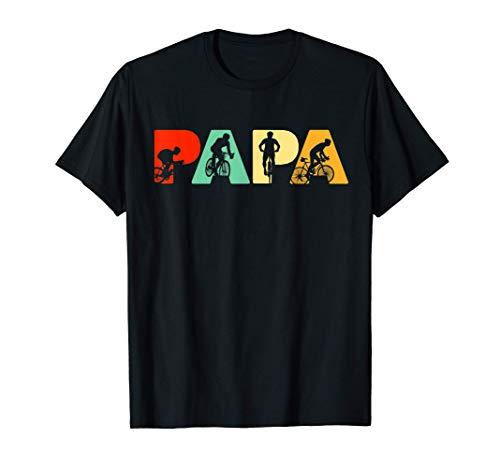 Hombre Papá Ciclista, Regalo de Padre Ciclista Retro Papá Camiseta