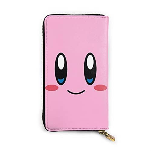Kirby - Cartera de piel con cremallera de piel, diseño de artesanía, personalización personalizada, gran capacidad, resistente y duradero