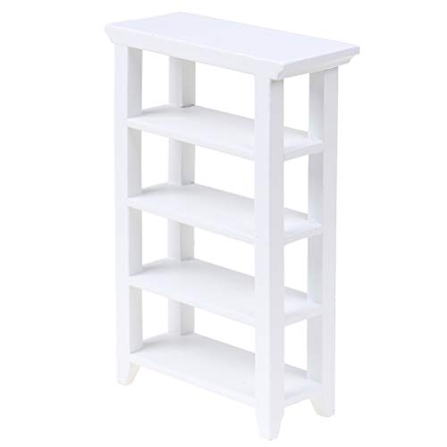 TBoxBo 1/12 Dollhouse Miniature Furniture White Wooden Shelf Accessories Model Toys Plant Stand Model Decor Miniature Furniture Accessories DIY Ornament Toys Doll House Decoration